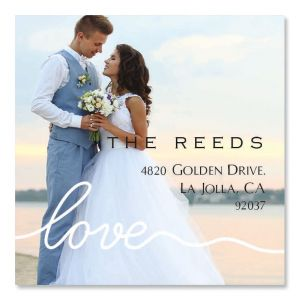 Love Large White Caption Square Photo Return Address Label