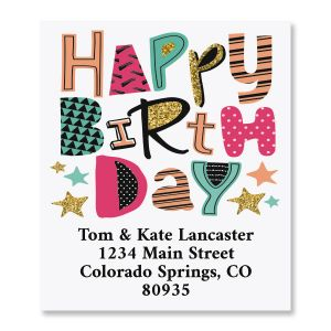 Birthday Pizzazz Select Return Address Labels