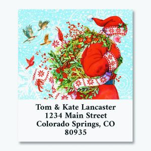 Santa Wreath Select Return Address Labels