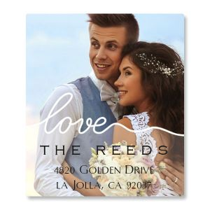 Love White Caption Select Photo Return Address Label