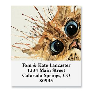 Crazy Haired Cat Select Return Address Labels