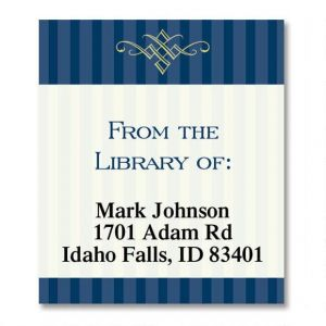 Navy Pinstripe  Bookplates
