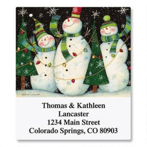 3 Snowmen Select Address Labels