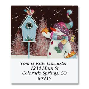 Patchwork Snowman Select Address Labels
