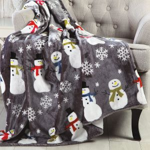 Velvet Touch Snowman Throw
