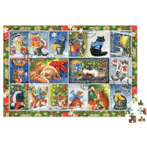 Christmas Cat Stamps Puzzle