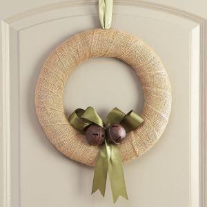 Burlap Wreath with Jingle Bells
