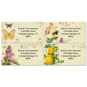 Nature's Flora Border Address Labels  (4 Designs)