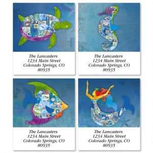 Patchwork Undersea  Select Address Labels   (4 Designs)