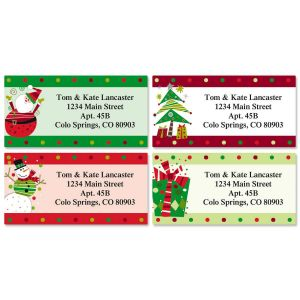 Fun Christmas Border Address Labels  (4 Designs)