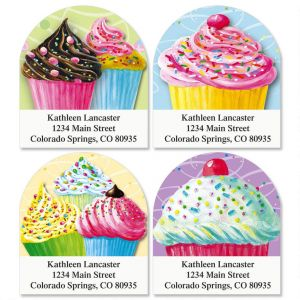 Cupcakes Diecut Return Address Labels  (4 Designs)