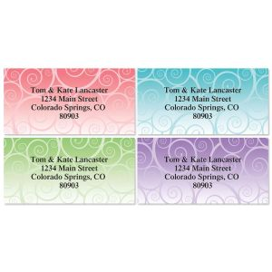 Swirly Girly Border Return Address Labels  (4 Designs)