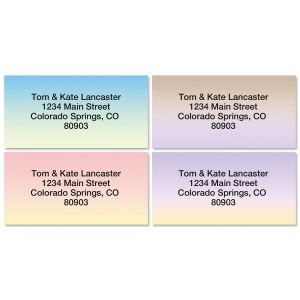 Ombre Border Return Address Labels  (4 Designs)