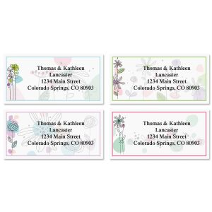 Sketched Flowers Border Address Labels  (4 Designs)