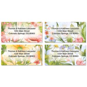 Watercolor Garden Border Address Labels  (4 Designs)
