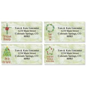 Christmas Garlands Border Return Address Labels  (4 Designs)