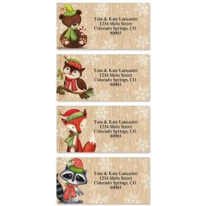 Woodsey Winter Border Address Labels  (4 Designs)