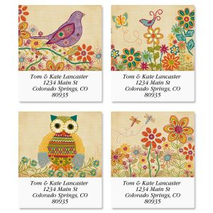 Floral Stitchwork Select Address Labels  (4 Designs)