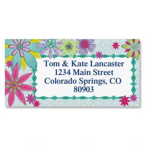 Stitched Floral Border Return Address Labels (2 Designs)