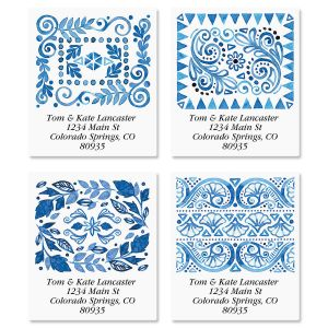 Crazy Quilt Indigo Select Address Labels  (4 Designs)