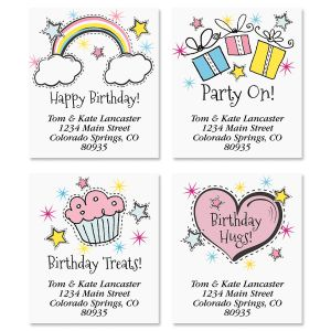 Pop Birthday Select Return Address Labels (4 Designs)