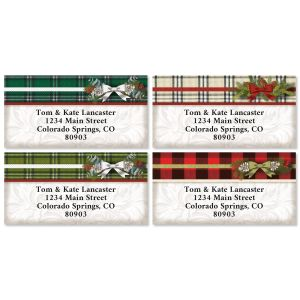 Warm Flannel Border Christmas Address Labels (4 Designs)