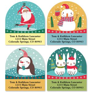 Snowglobe Diecut Return Address Labels (4 Designs)
