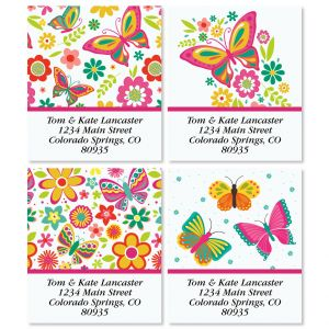 Happy Butterflies Select Return Address Labels (4 Designs)