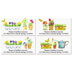 Flower Pots Deluxe Return Address Labels (4 Designs)
