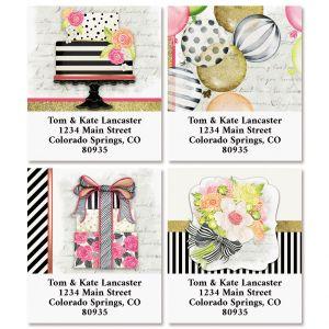 Striped Celebration Select Return Address Labels (4 Designs)