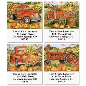 Harvest Orange Truck Select Return Address Labels (4 Designs)