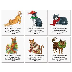 Christmas Cats Select Return Address Labels (6 Designs)