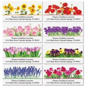 Seasonal Bouquet Deluxe Return Address Labels (8 Designs)