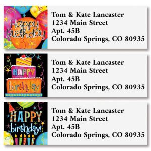 Fun Time Birthday Classic Return Address Labels (3 Designs)