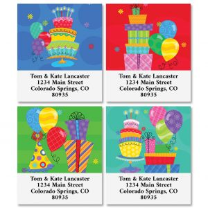 Birthday Party Select Return Address Labels (4 Designs)