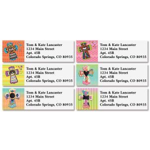 Colorful Crosses Classic Return Address Labels (4 Designs)