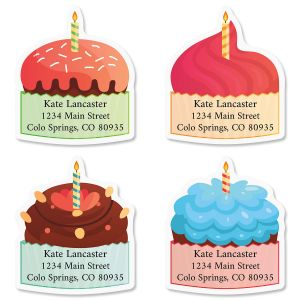 Birthday Cupcakes Diecut Return Address Labels (4 Designs)