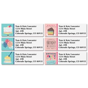 Birthday Party Classic Return Address Labels (6 Designs)