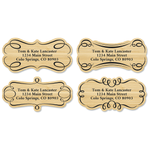 Woodgrain Diecut Return Address Labels (4 Designs)