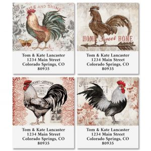 Cardinal Rooster Select Return Address Labels (4 Designs)