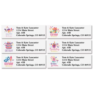 Birthday Wishes Classic Return Address Labels (6 Designs)