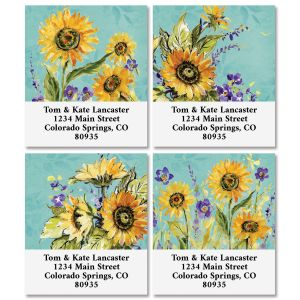 Watercolor Sunflower Select Return Address Labels (4 Designs)