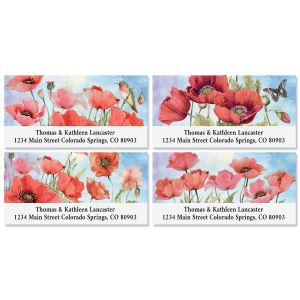 Red Spring Poppies Deluxe Return Address Labels (4 Designs)