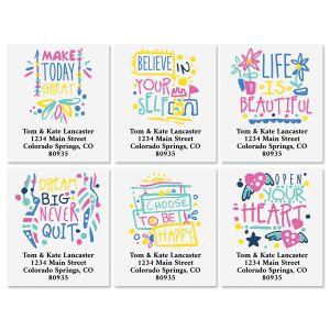 Positive Words Select Return Address Labels (6 Designs)