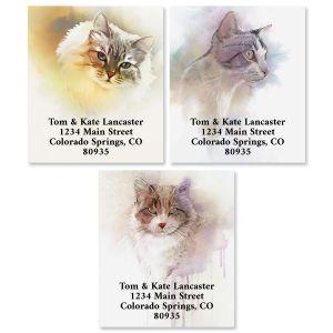 Cat Portrait Select Return Address Labels (3 Designs)
