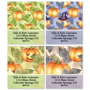 Pumpkin Pattern Select Return Address Labels (4 Designs)