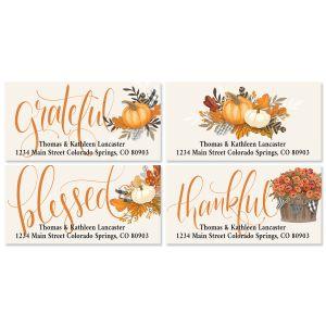 Gingham Pumpkin Deluxe Return Address Labels (4 Designs)