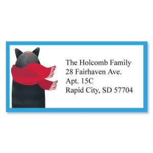 Linnea's  Year-Round Cats Border Address Labels  (12 Designs)