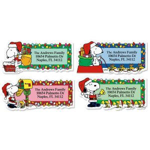 Snoopy™ Santa  Diecut Return Address Labels (4 Designs)