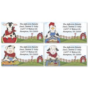 Sandi's Farmyard Friends Border Address Labels  (4 Designs)